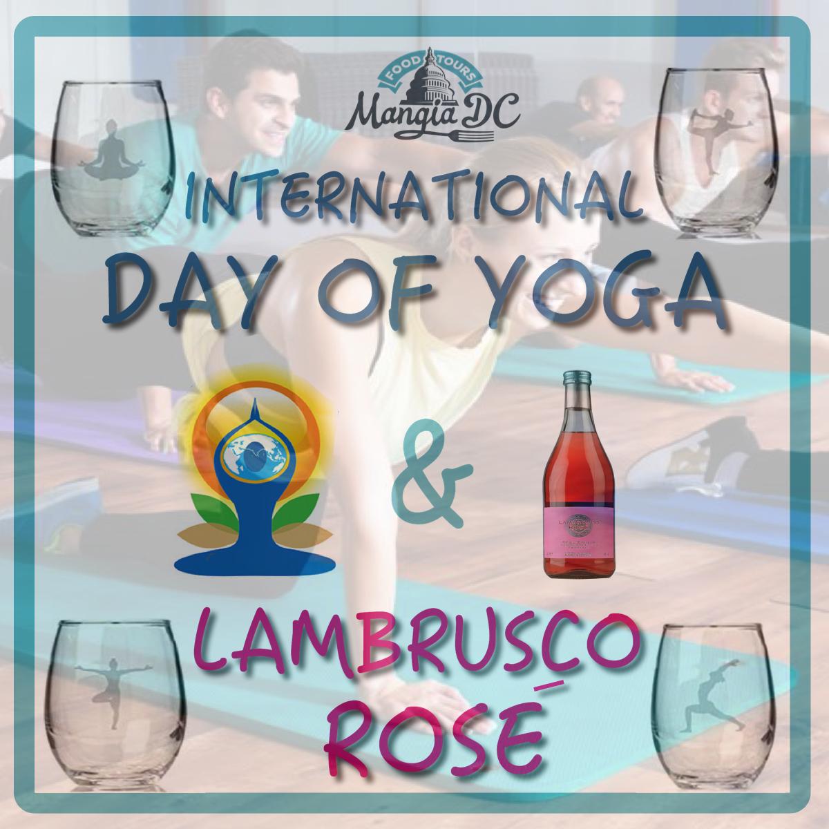 International yoga Day & Lambrusco ROse Instagram